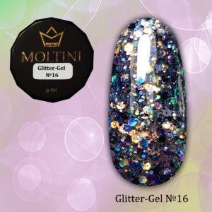 Глиттер-гель Moltini G16, 6 гр
