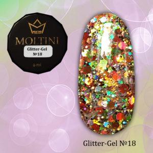 Глиттер-гель Moltini G18, 6 гр